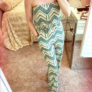 Boutique Jumpsuit Teal Fun Pattern Small